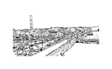 Illustration pour Imprimer Vue du bâtiment avec le point de repère de Campeche est la ville au Mexique. Illustration dessinée à la main en vecteur. - image libre de droit