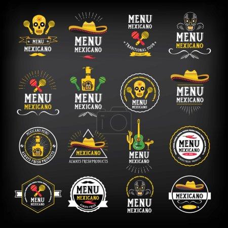 Menu mexican logo and badge