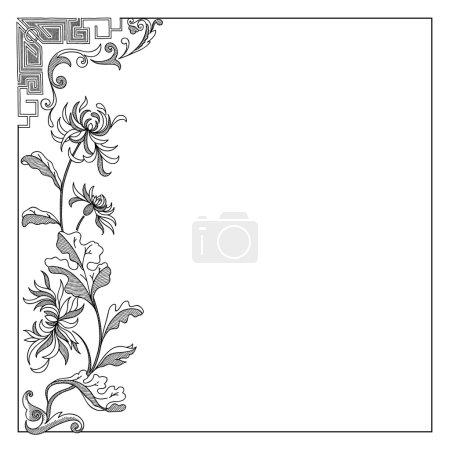 Vintage  frame floral black