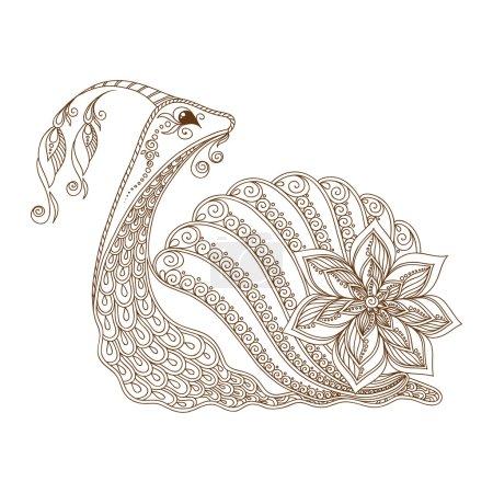 Illustration of a snail. Henna Mehndi Tattoo Style Doodles