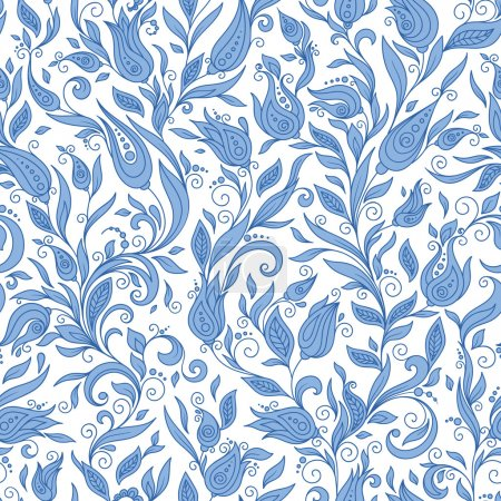 Seamless Pattern. Paisley Flowers Illustration Design