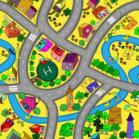 Cartoon map seamless pattern. (roads, cars and houses)
