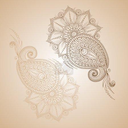 Henna tattoo mehndi doodle  elements . Designs set