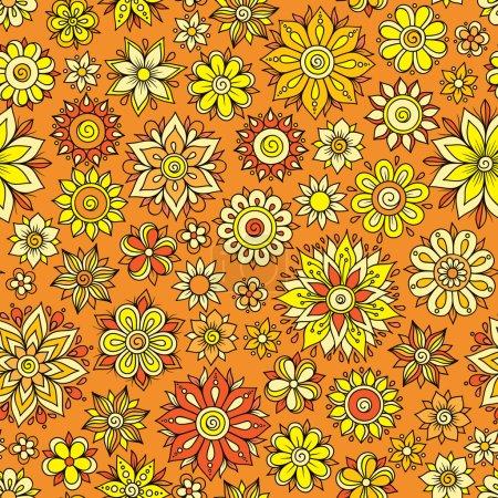 Henna Mehndi Tattoo Doodles Retro Seamless Pattern Flowers