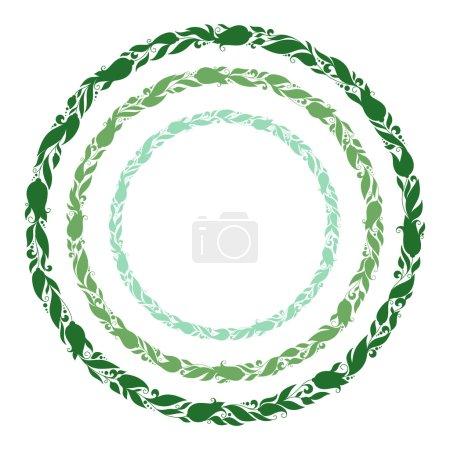 Foto de Guirnalda verde dibujado de la mano estilizada con flores. Marco floral redondo para su texto. Una imagen de un conjunto de elementos de diseño de la flor en forma circular. - Imagen libre de derechos