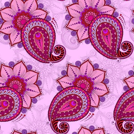 Raster  illustration of  seamless paisley pattern