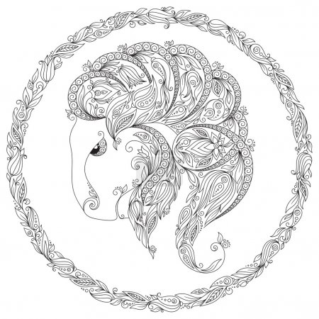 Hand drawn line flowers art of zodiac Capricornus.