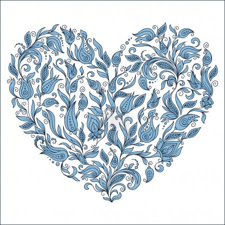 Beautiful  silhouette of the heart of lace flowers, tendrils and
