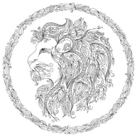 Hand drawn line flowers art of zodiac Leo.