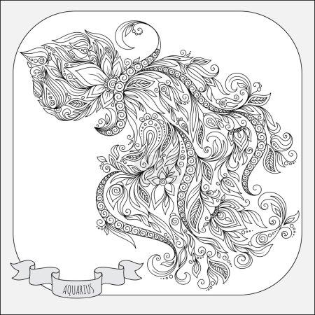Hand drawn line flowers art of zodiac Aquarius.