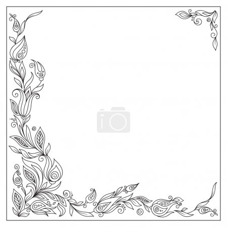 Photo for Greeting frame elements for design.  Bright illustration, can be used as greeting card, invitations for wedding, birthday, valentine's day .Paisley Doodle Flowers Design. - Royalty Free Image