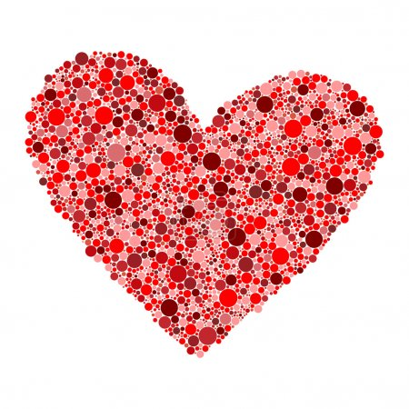 Heart made from red dots on white