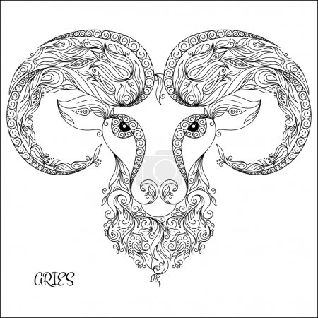 Photo for Pattern for coloring book. Hand drawn line flowers art of zodiac Aries. Horoscope symbol for your use. For tattoo art, coloring books set. Henna Mehndi Tattoo Ethnic Zentangle Doodles style. - Royalty Free Image