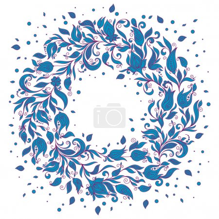Floral Background. Hand Drawn Ornament with Floral Wreath.