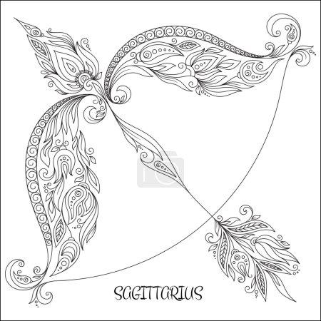 Hand drawn line flowers art of zodiac Sagittarius.