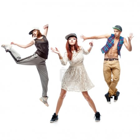 Photo pour Groupe de jeunes danseurs hip hop isolés sur fond blanc - image libre de droit