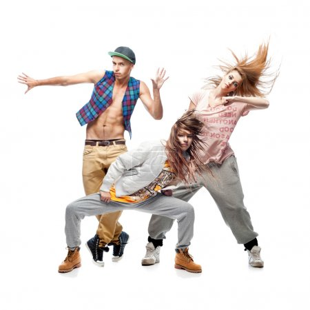 group of young hip hop dancers on white background