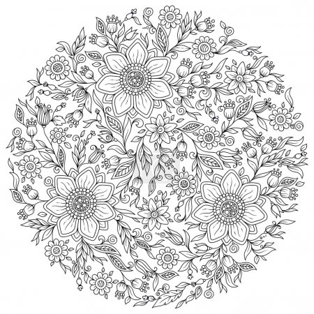 Pattern for coloring book. Ethnic, floral, retro, ...