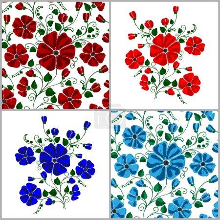 Illustration for Set Of Textured Natural Seamless Patterns Backgrounds. Flowers Illustration Design Elements - Royalty Free Image