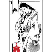 Broken heart The vector illustration of sad samurai Vintage ha