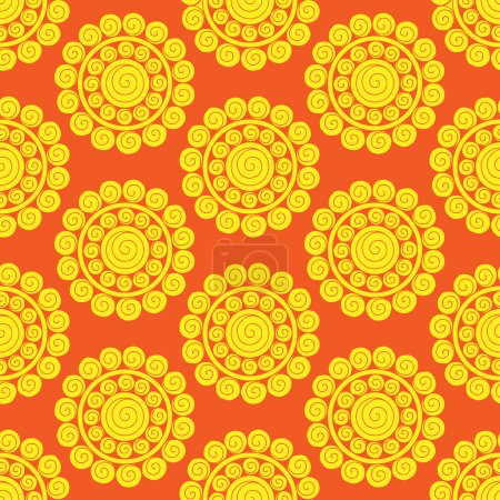 Retro abstract seamless pattern with suns. Retro s...