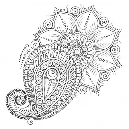 Pattern for coloring book. Floral elements in indian style.
