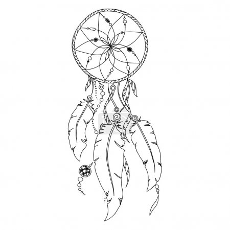 Pattern for coloring book. Dream catcher