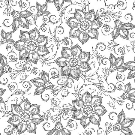 Pattern for coloring book. Henna Mehendy Tattoo Doodles Seamless