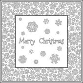 Christmas frame from snowflakes for a card vector Pattern for coloring book Christmas hand-drawn doodle decorative elements in vector Black and white pattern