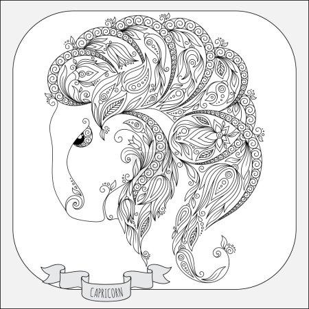 Hand drawn pattern for coloring book zodiac  Capricornus