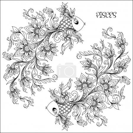 Illustration for Pattern for coloring book. Hand drawn line flowers art of zodiac Pisces. Horoscope symbol for your use. For tattoo art, coloring books set. Henna Mehndi Tattoo Ethnic Zentangle Doodles style. - Royalty Free Image