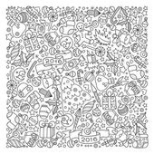 Pattern for coloring book Christmas hand-drawn decorative eleme