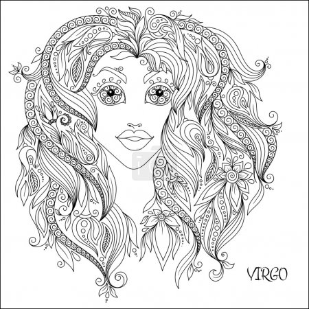 Illustration for Pattern for coloring book. Hand drawn line flowers art of zodiac Virgo. Horoscope symbol for your use. For tattoo art, coloring books set. Henna Mehndi Tattoo Ethnic Zentangle Doodles style. - Royalty Free Image
