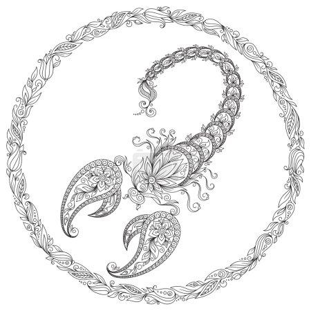 Pattern for coloring book. Zodiac Scorpio.