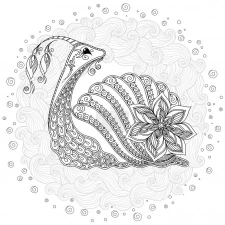 Pattern for coloring book. Illustration of a snail.