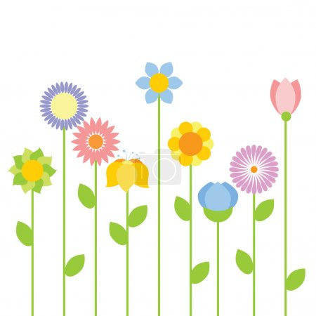 Illustration for Blooming summer flowers pattern - Royalty Free Image