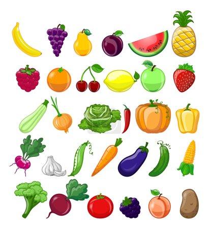 Illustration pour Dessin animé fruits et légumes biologiques icônes ensemble - image libre de droit