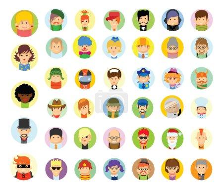 Photo pour Différentes professions de dessin animé colorés avatars personnages - image libre de droit