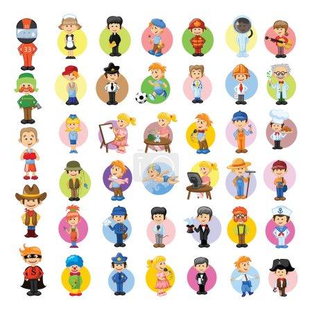 Photo pour Différents dessins animés colorés professions masculines et féminines - image libre de droit