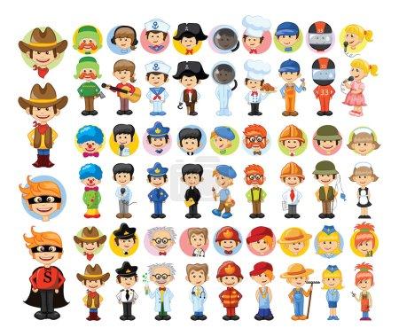 Photo pour Différents personnages colorés de professions de dessin animé - image libre de droit