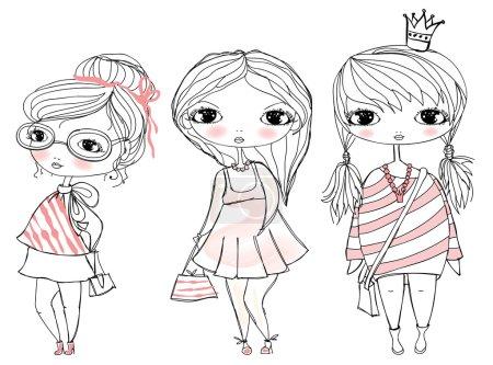 Illustration pour Ensemble de 3 jolies filles élégantes. Fond de mode pour les filles élégantes - image libre de droit