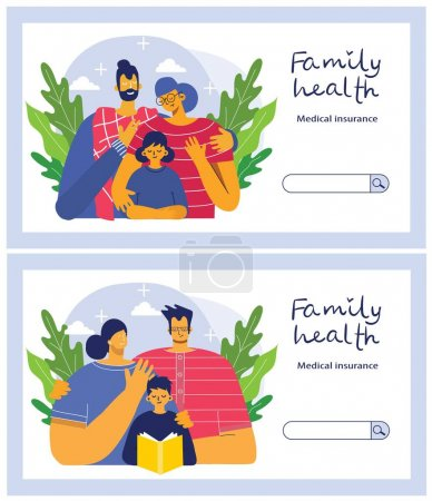 Photo for Insurance horizontal banner set with property and family health protection symbols isolated vector illustration in the flat style - Royalty Free Image