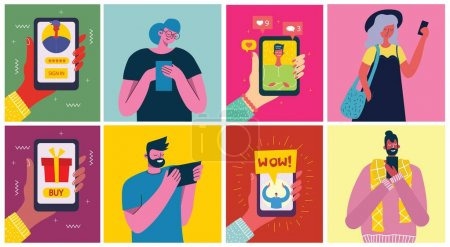 Illustration pour Jeunes hommes et femmes utilisant la technologie gadget smartphone téléphone mobile tablette PC ordinateur portable dans le concept de communication de réseau social design plat style dessin animé avec copyspace - image libre de droit