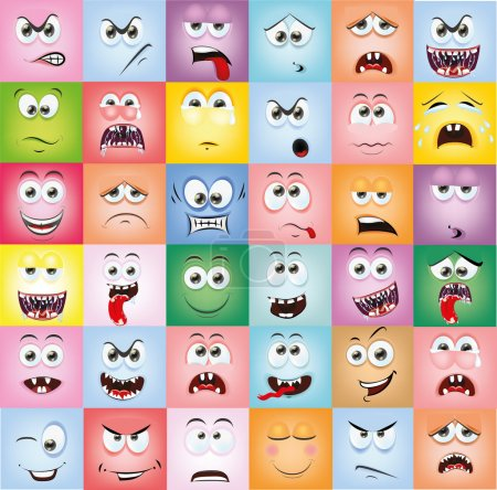 Illustration for Cartoon faces with emotions. Vector illustration - Royalty Free Image