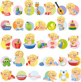 Cartoon babies and children's accessories Vector illustration