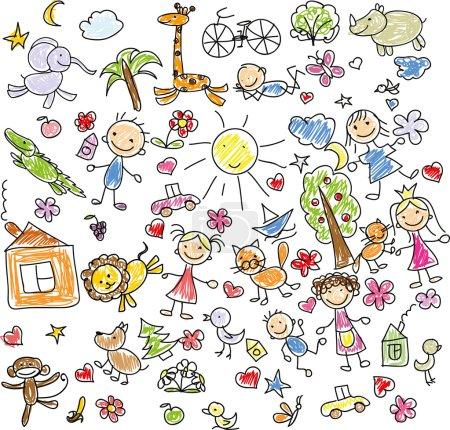 Illustration pour Dessins d'enfants d'animaux gribouillis. Illustration vectorielle - image libre de droit