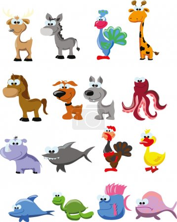 Illustration for Set of cute cartoon animals - Royalty Free Image
