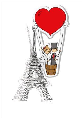 Bride and groom in Paris