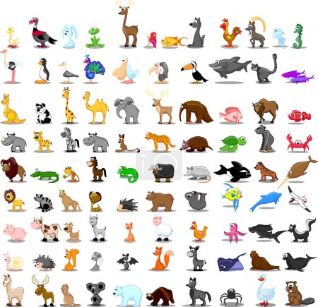 Illustration for Super set of vector cute cartoon animals - Royalty Free Image