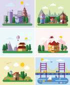 Sada různých budov